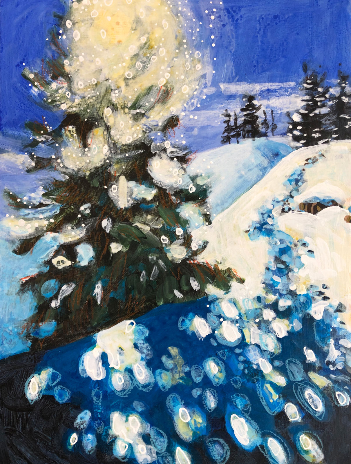 Backcountry-Vibes-No5- winter landscape painting by Colorado artist Lance Whitner.