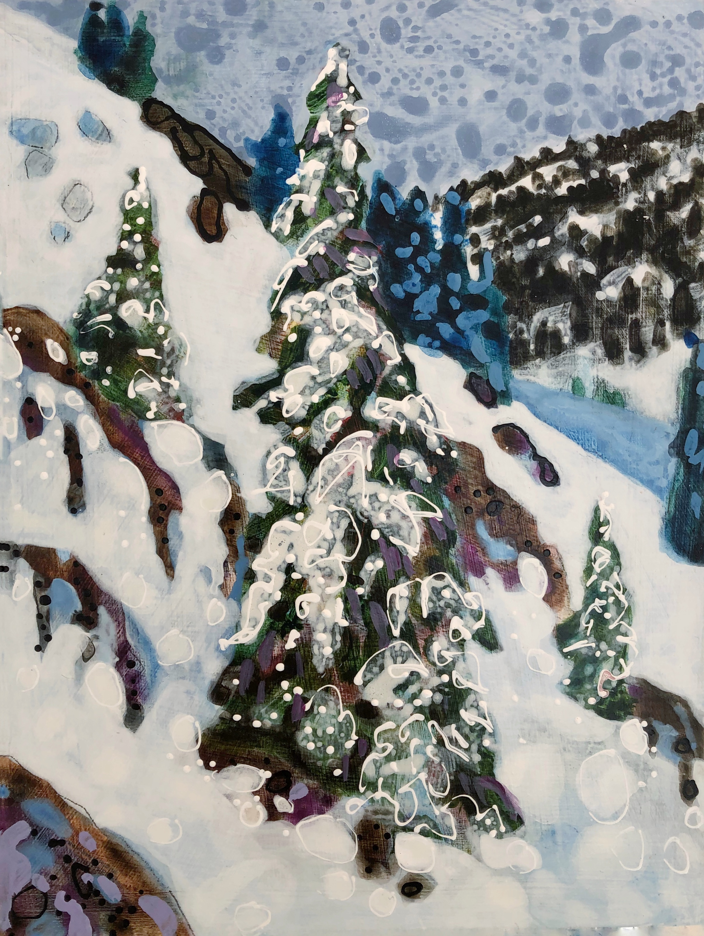Steamboat Springs Colorado artist Lance Whitner smalls painting Backcountry Ski