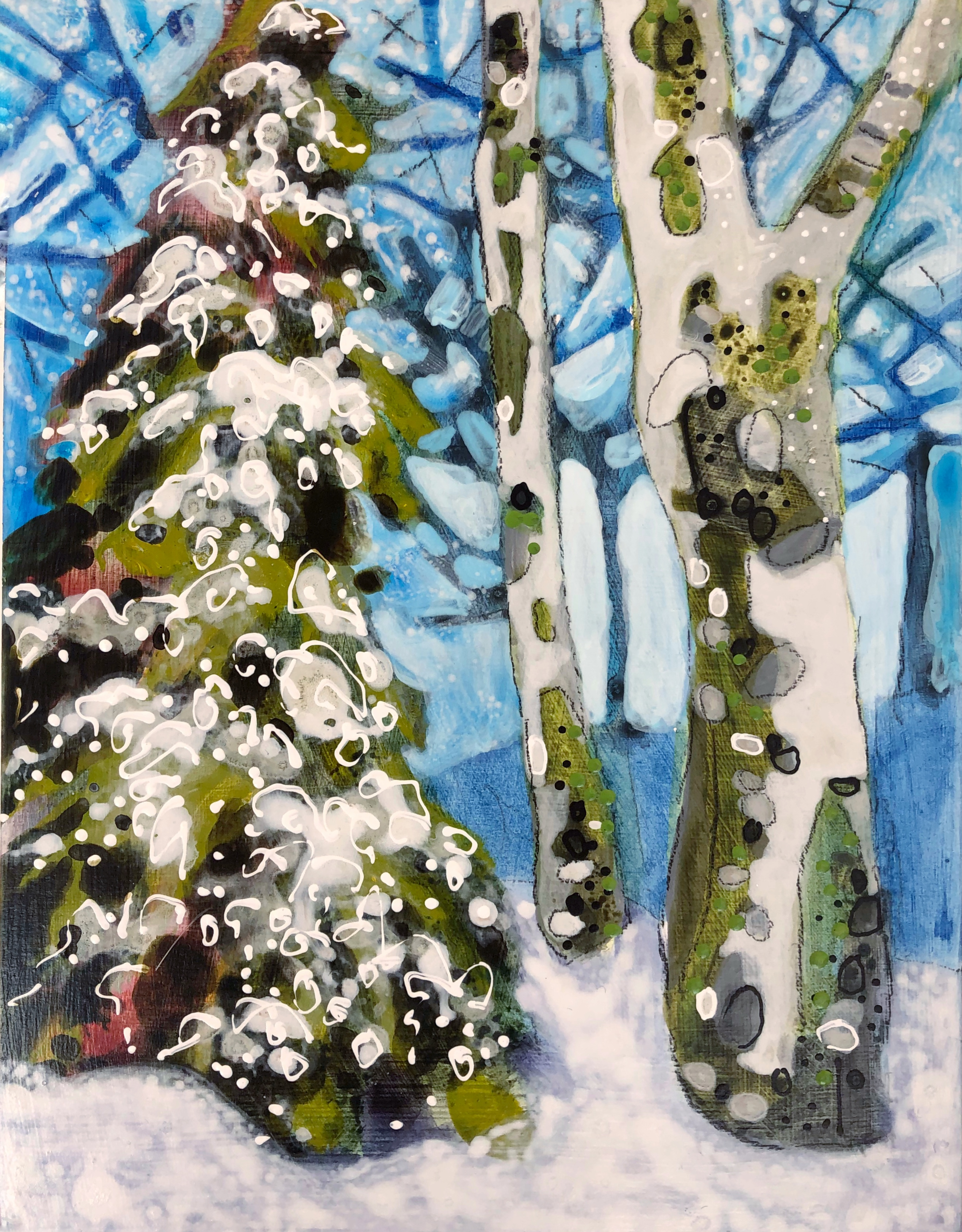Steamboat Springs Colorado artist Lance Whitner smalls painting Backcountry Trees No.9