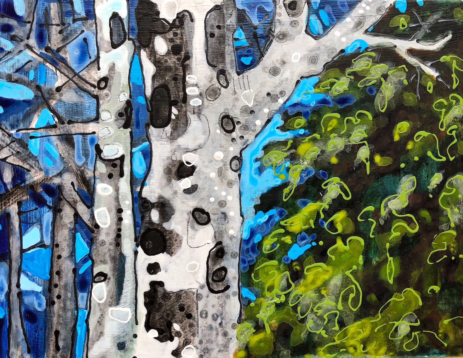 Backcountry Trees No13 painting by Lance Whitner created in her cool little studio in Steamboat Springs located in the Colorado Rocky Mountains