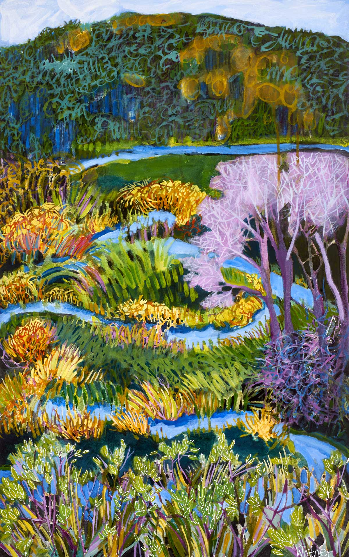 Butcherknife Creek Lance Whitner Steamboat Springs Artist color filled funky contemporary mountain landscapes floral paintings