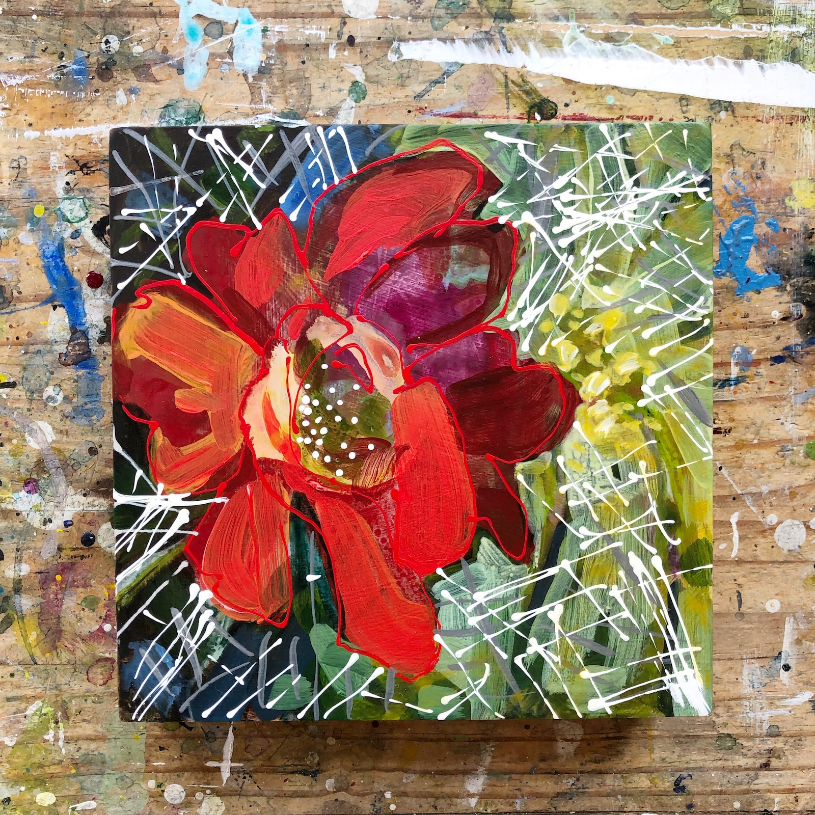 Cactus Flower No1 painting by Lance Whitner created in her cool little studio in Steamboat Springs located in the Colorado Rocky Mountains