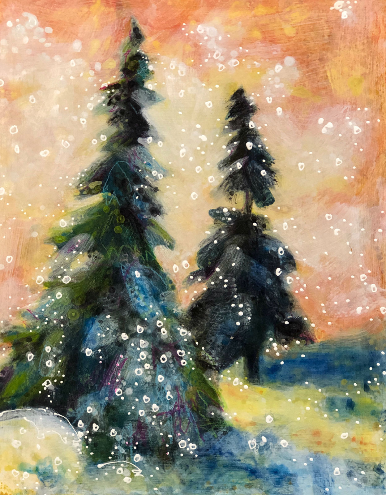 Dawn-Patrol-No-4 winter landscape painting by Colorado artist Lance Whitner