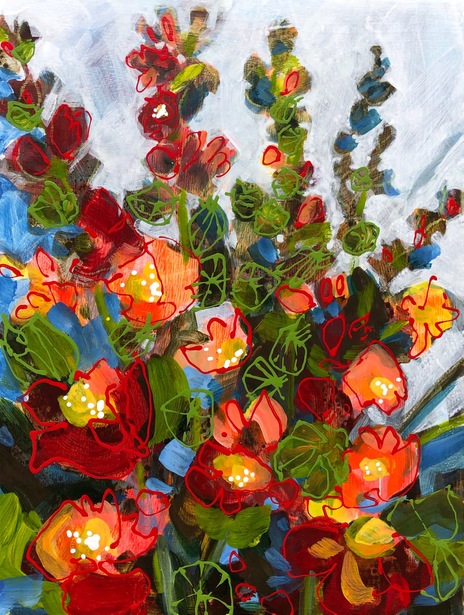 Desert Flowers No4 painting by the cool artist Lance Whitner in Steamboat Springs Colorado