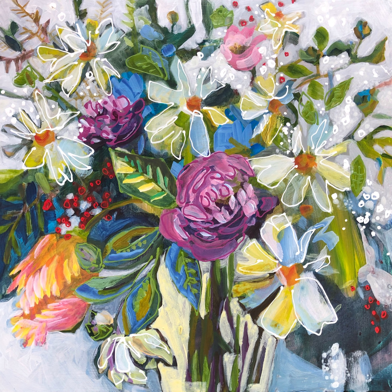 Painting Floral No6 created by the fabulous artist Lance Whitner in the small town of Steamboat Springs in the Colorado Rocky Mountains