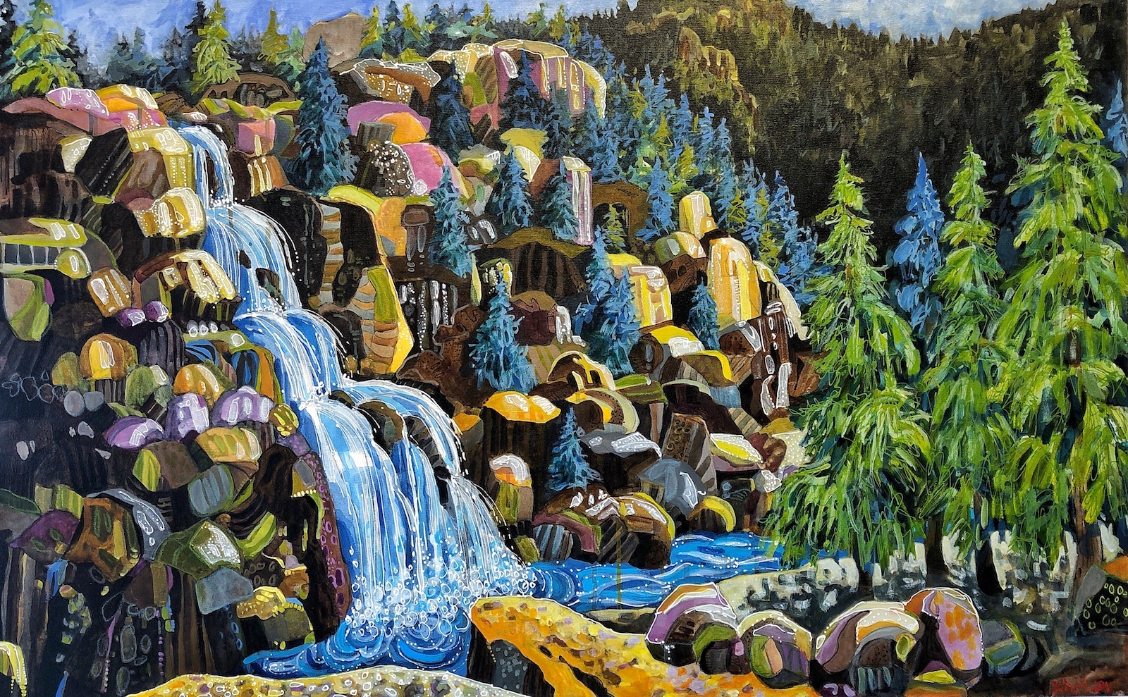 Upper Fish Creek Falls painting by Colorado artist Lance Whitner