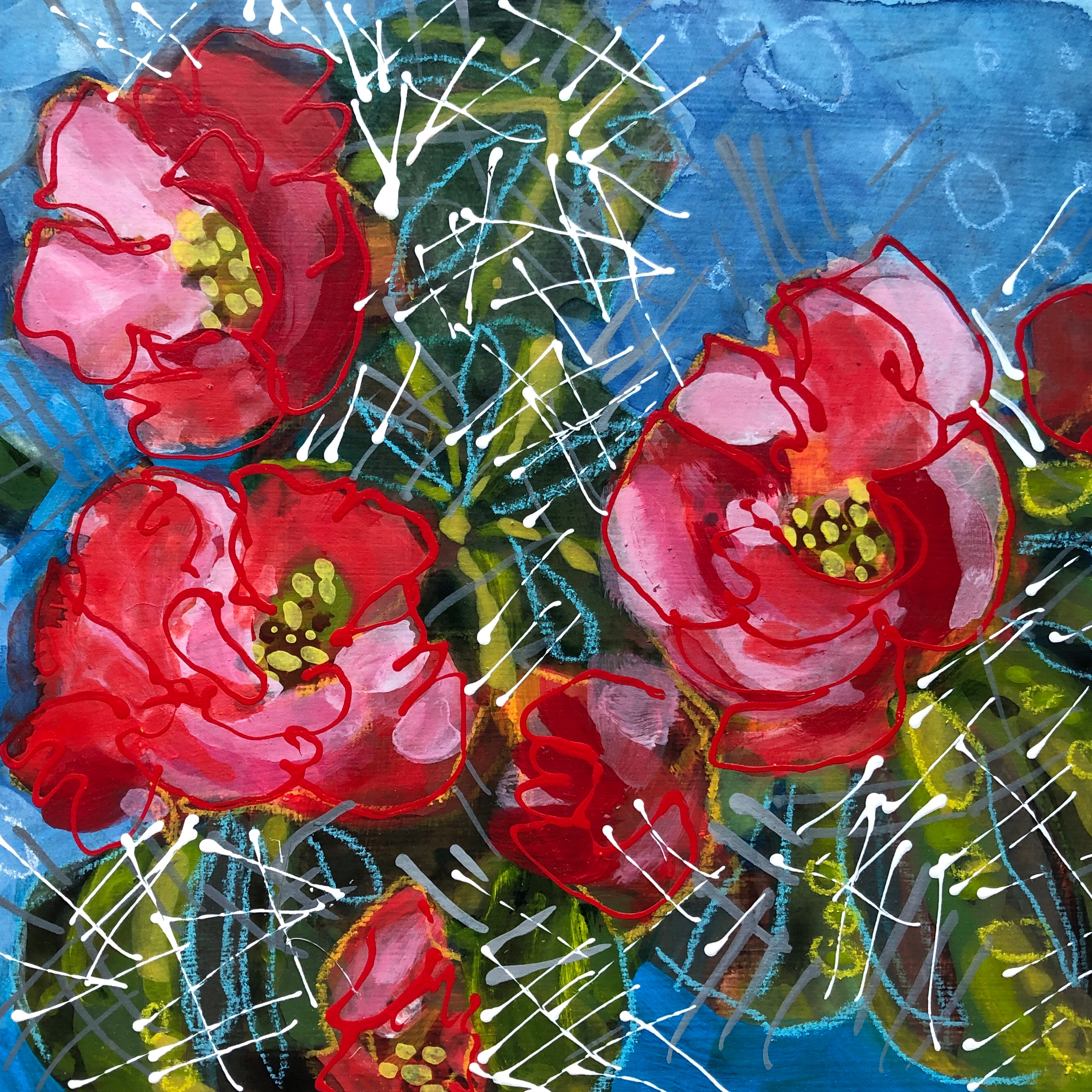 Cactus Flowers No.5 painting by Colorado artist Lance Whitner