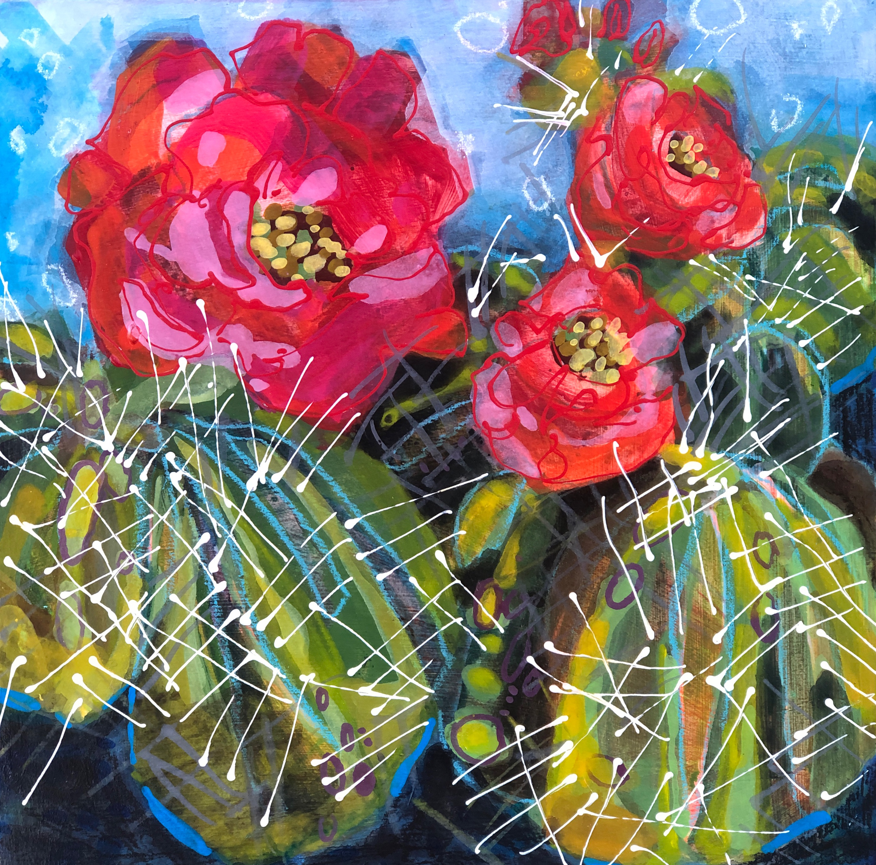 Cactus Flowers No.3 painting by Colorado artist Lance Whitner