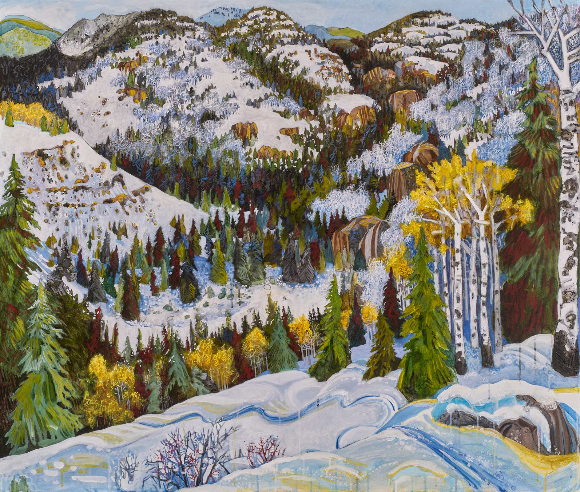 new paintings by Lance Whitner at Pine Moon Fine Art, Big View of Soda Creek 44x52