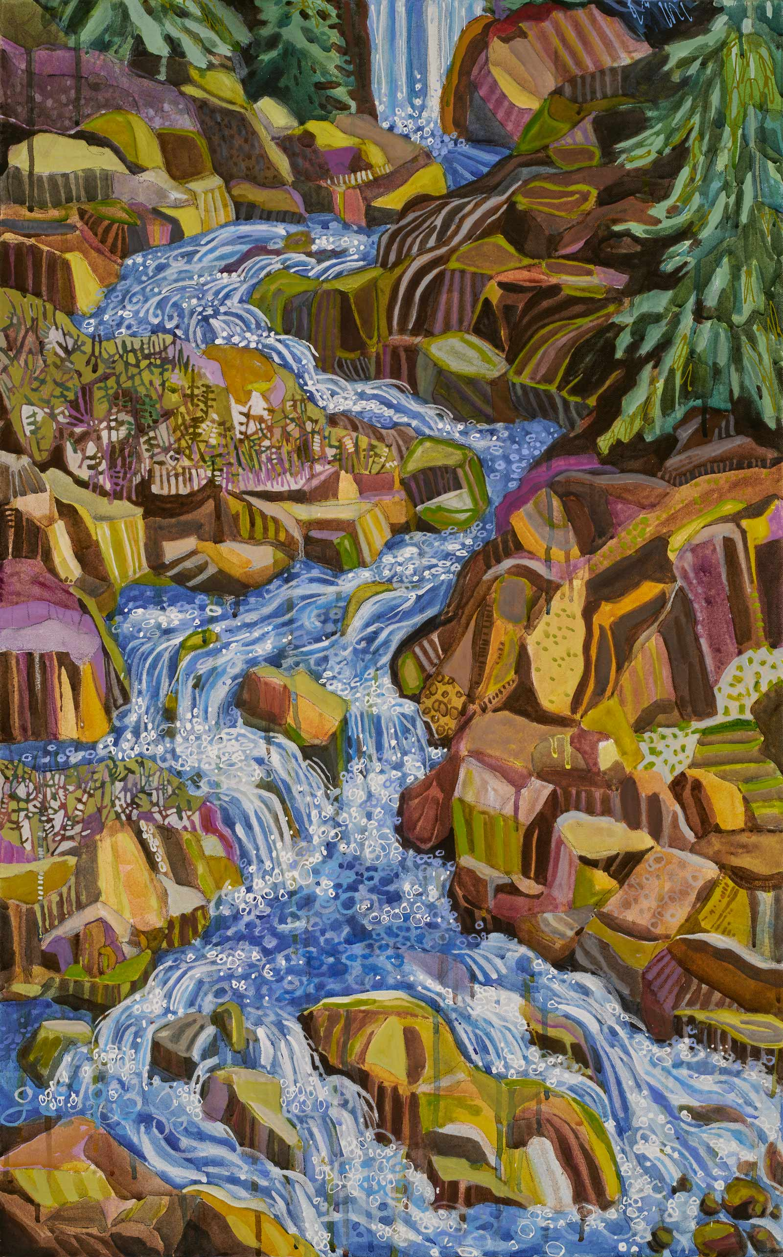 new paintings by Lance Whitner at Pine Moon Fine Art. Fish Creek Falls 74x23 diptych