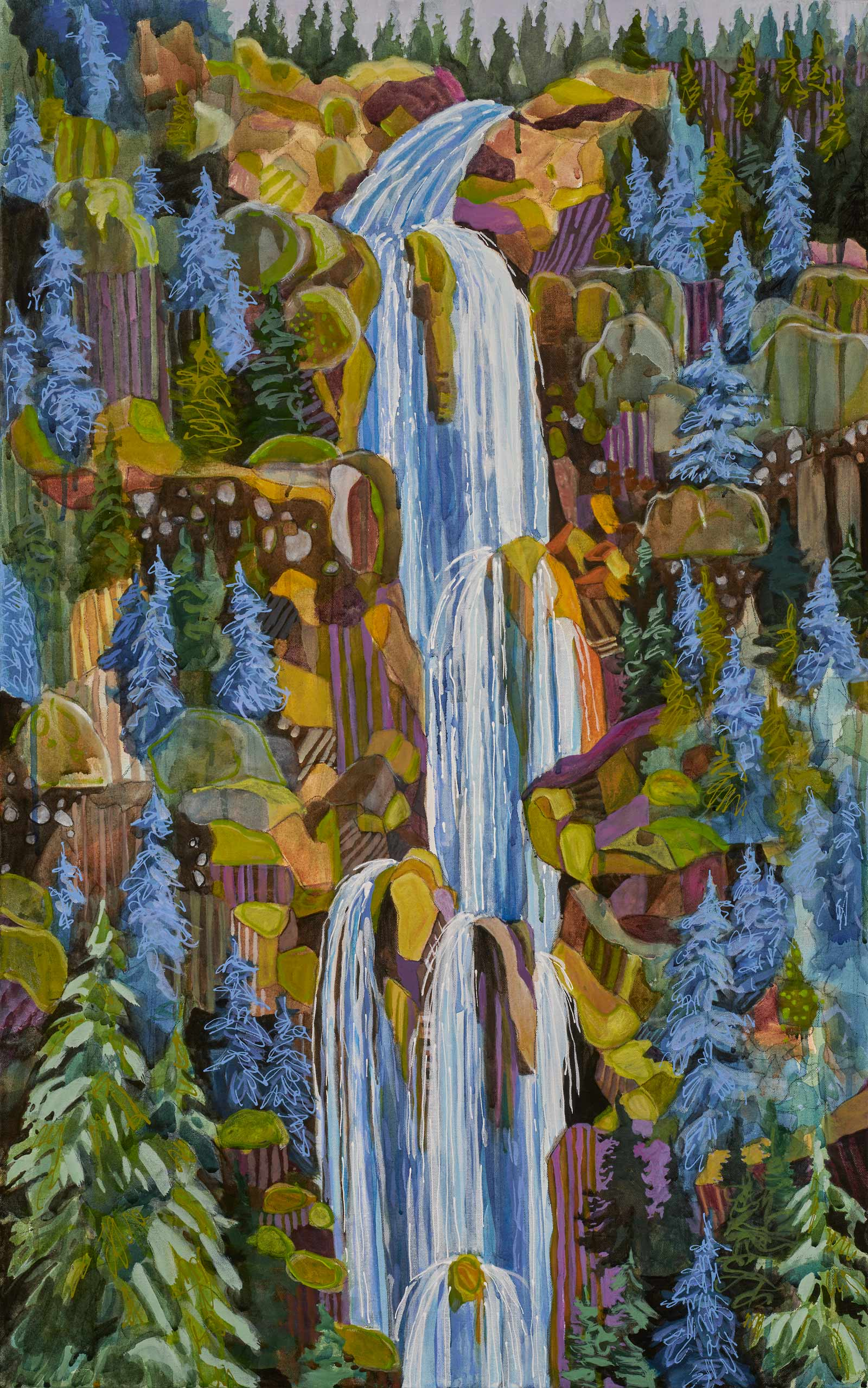 "new paintings by Lance Whitner at Pine Moon Fine Art.  Fish Creek Falls 74x23"" diptych"
