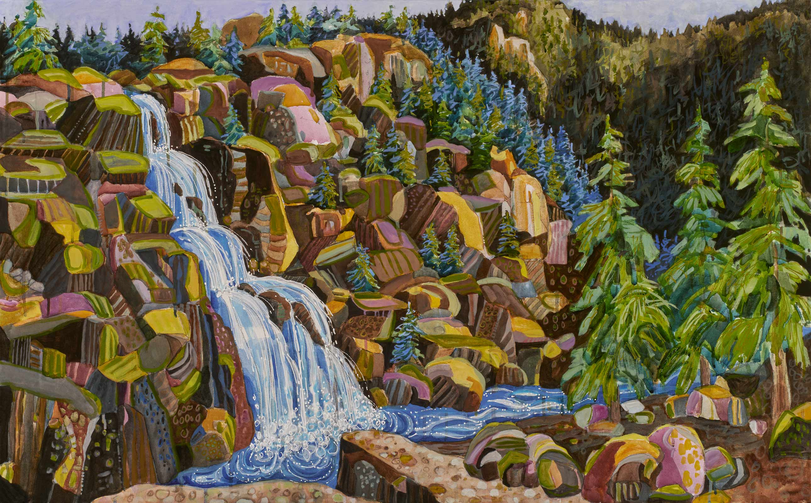 new paintings by Lance Whitner at Pine Moon Fine Art. Upper Fish Creek Falls 28x45