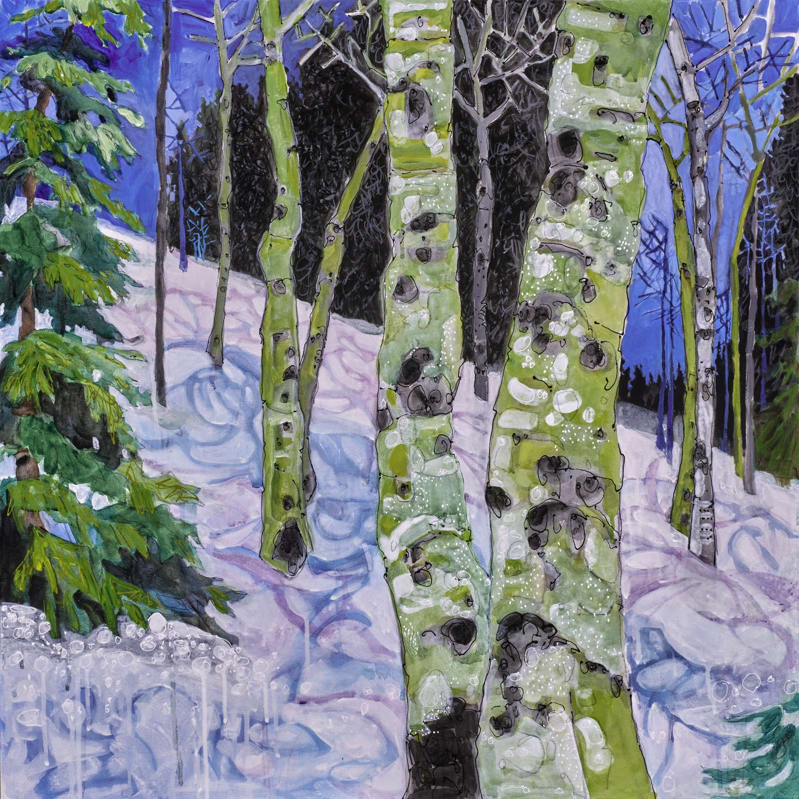 new paintings by Lance Whitner at Pine Moon Fine Art.  Winter Aspens 30x30""