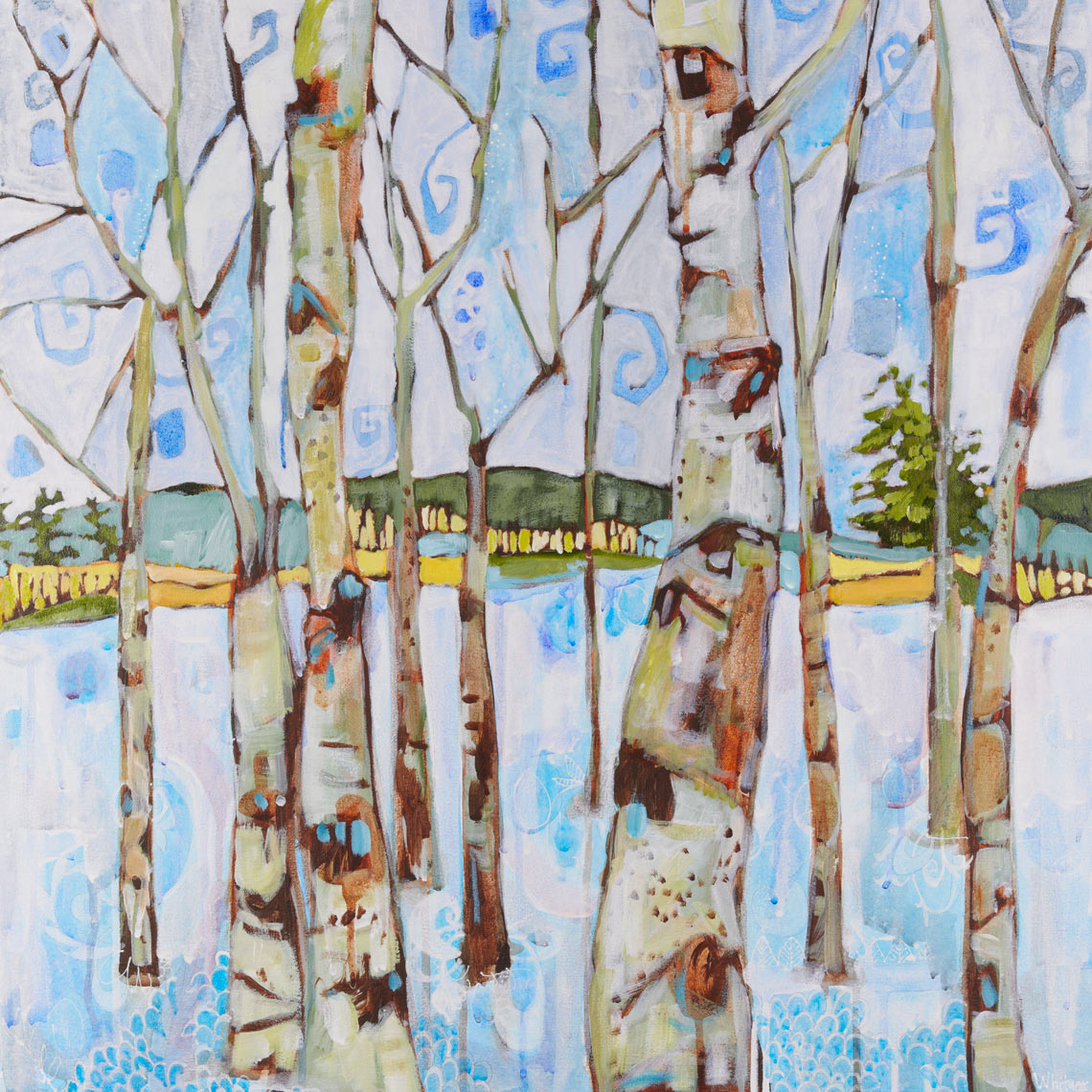 aspens in winter Rocky Mountain Paintings Contemporary Funky Landscapes Lance Whitner Artist Steamboat Springs