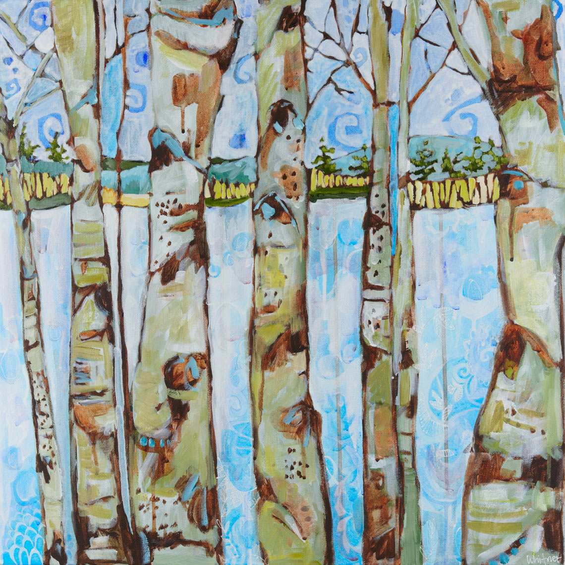 winter aspens Rocky Mountain Paintings Contemporary Funky Landscapes Lance Whitner Artist Steamboat Springs