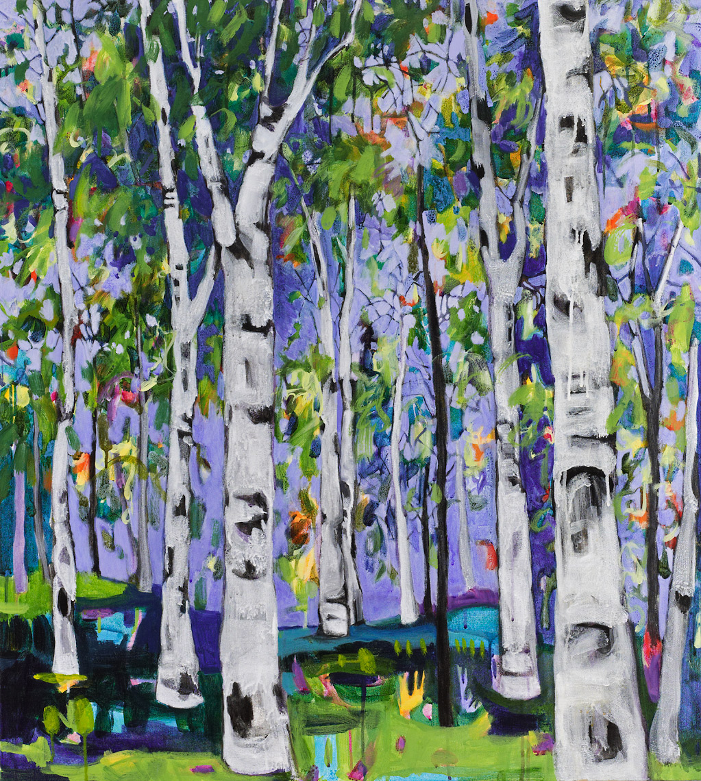 Blue Woods Lance Whitner Steamboat Springs Artist color filled funky contemporary mountain landscapes floral paintings