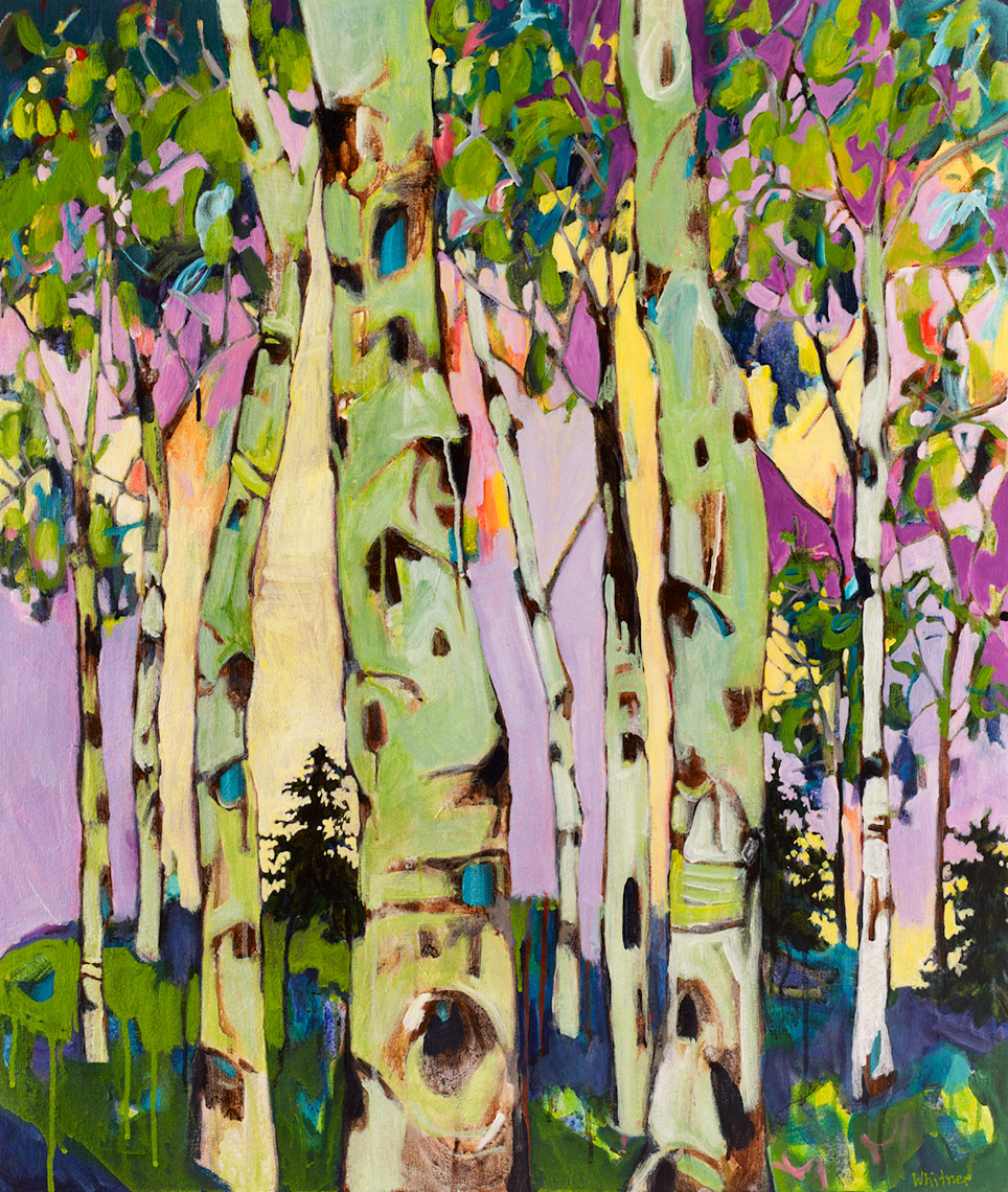 Chartreuse Trees Lance Whitner Steamboat Springs Artist color filled funky contemporary mountain landscapes floral paintings