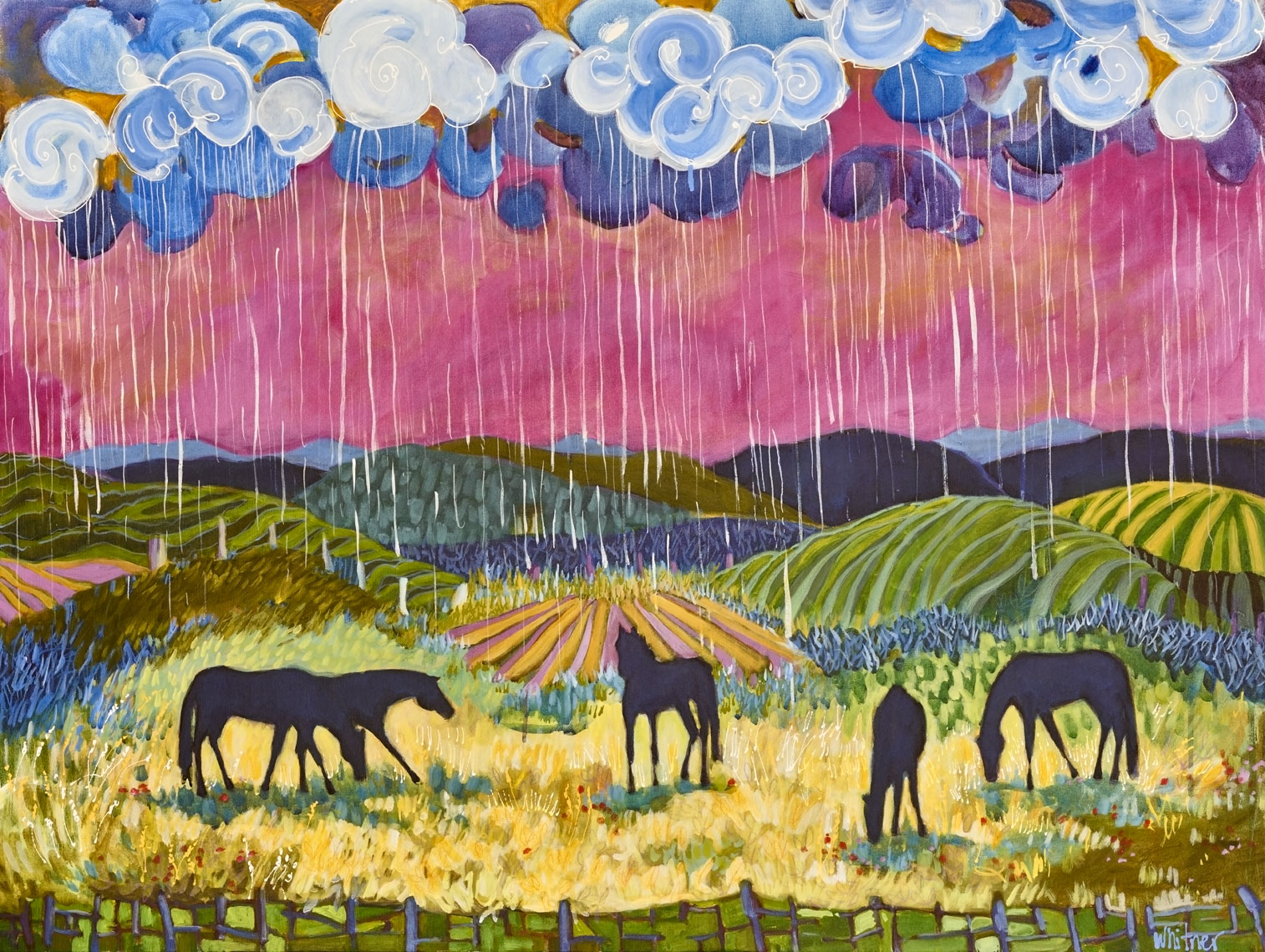 Rainy Day Sun Horse paintings Lance Whitner Steamboat Springs Rocky Mountain Contemporary artist Pine Moon Fine Art Gallery