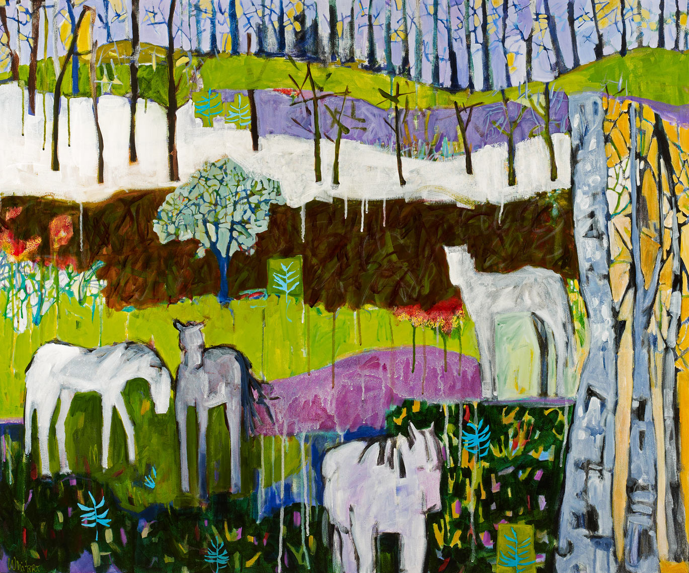 Violet Fields Horse paintings Lance Whitner Steamboat Springs Rocky Mountain Contemporary artist Pine Moon Fine Art Gallery