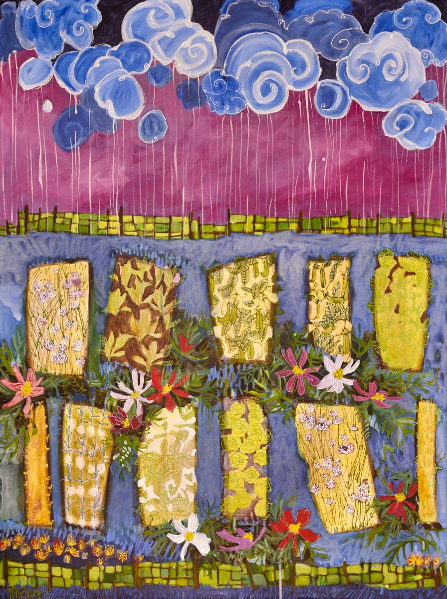 Rainy Day Garden Rocky Mountain Paintings Contemporary Funky Landscapes Lance Whitner Artist Steamboat Springs