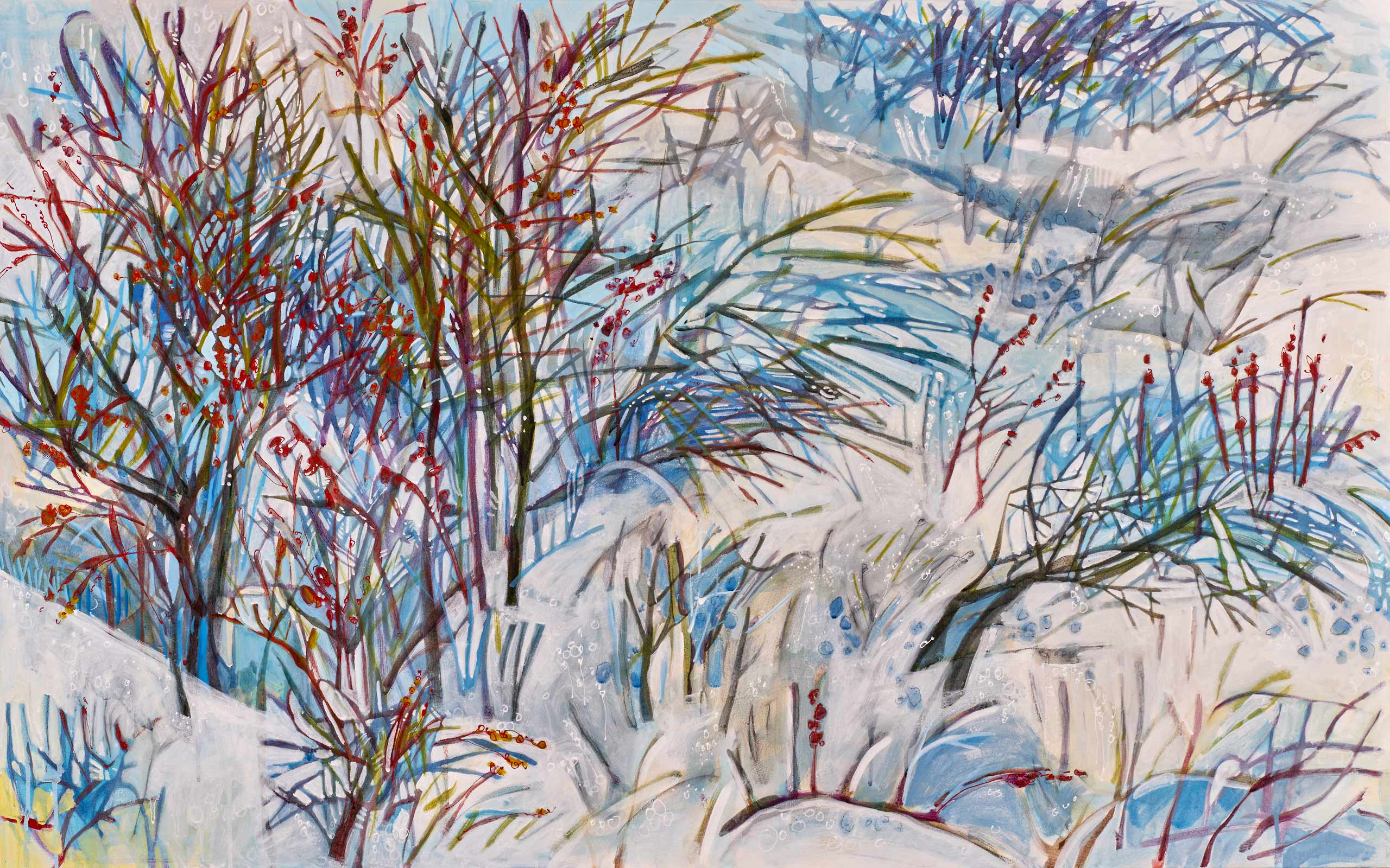 new paintings by Lance Whitner at Pine Moon Fine Art.  Walton Peak Shrubs, 31x50