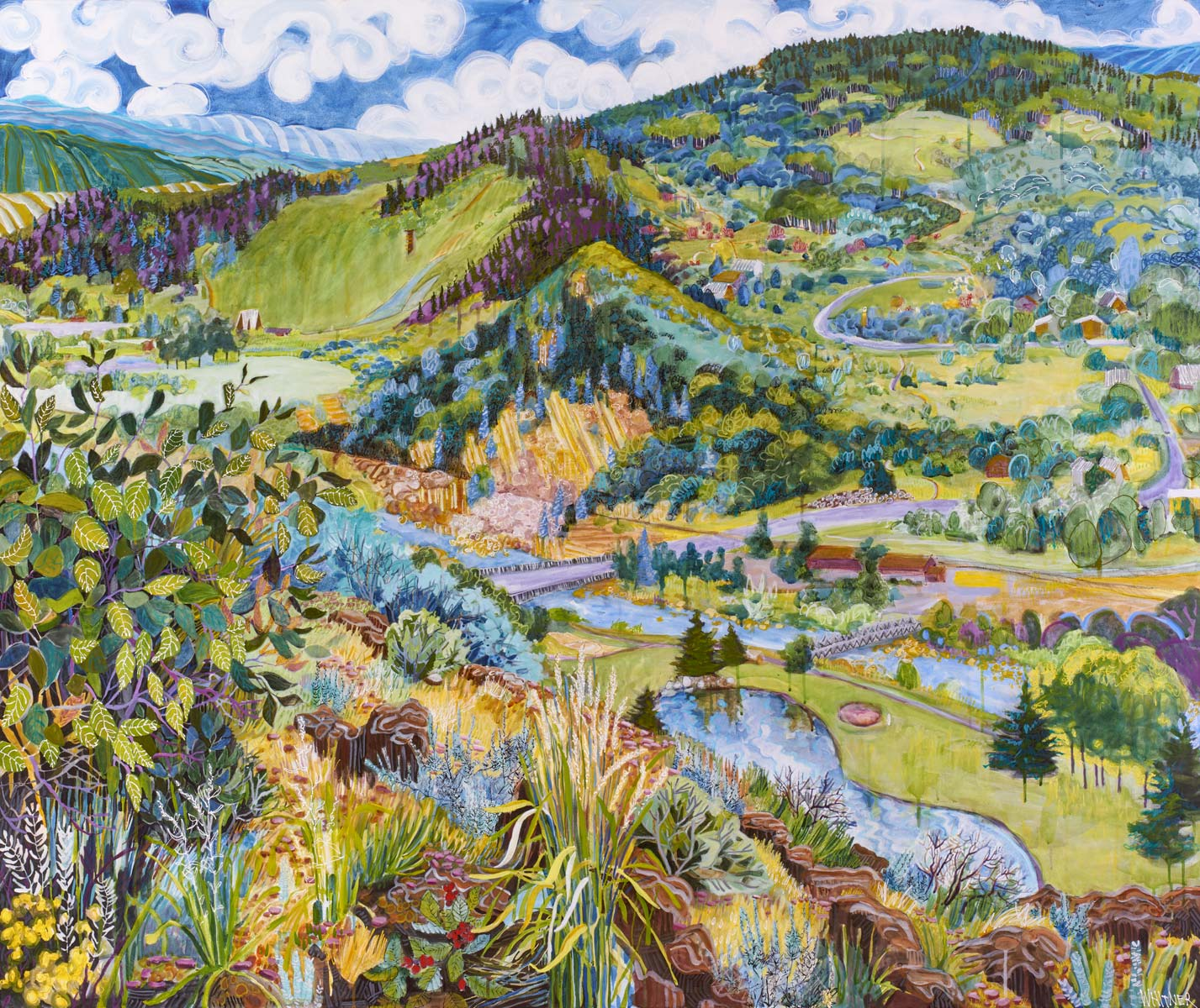 Lance Whitner Colorado Artist Mountain Painter Color Funky Contemporary Landscapes Paintings Steamboat Springs Pine Moon Fine Art