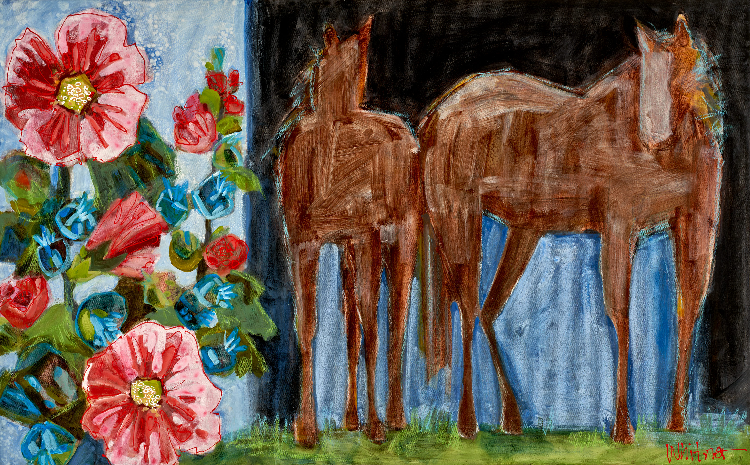 Lance-Whitner-Hollyhocks-and-Horses-18X29-Canvas-Web available at sundancecatalog.com