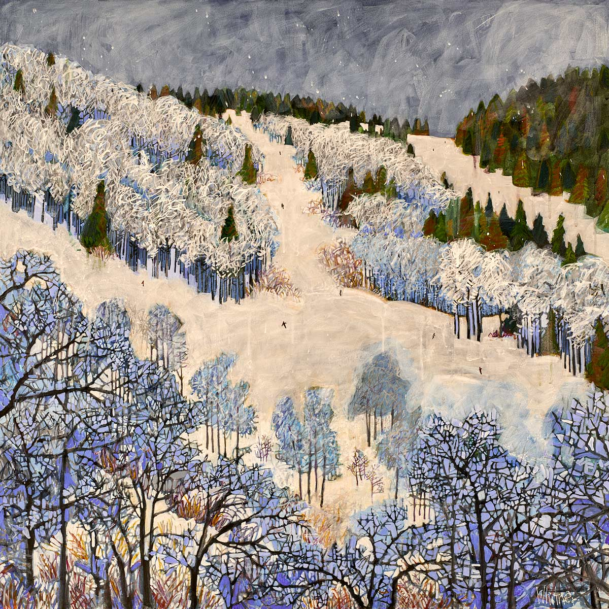 Powder Day winter ski painting Lance Whitner artist  Mountain  colorado