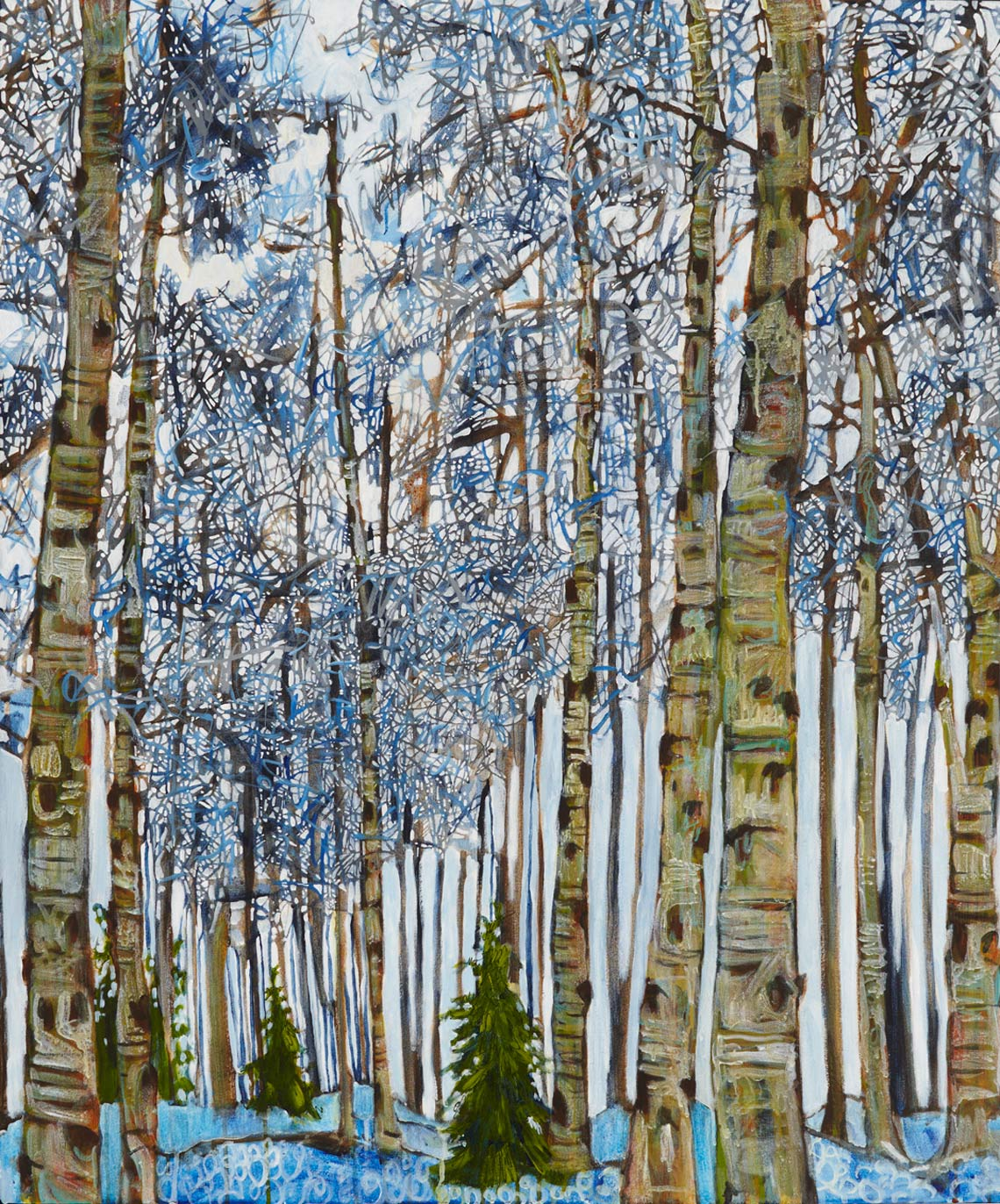Aspens Lance Whitner Colorado Artist Mountain Painter Color Funky Contemporary Landscapes Paintings Steamboat Springs Pine Moon Fine Art twister cane