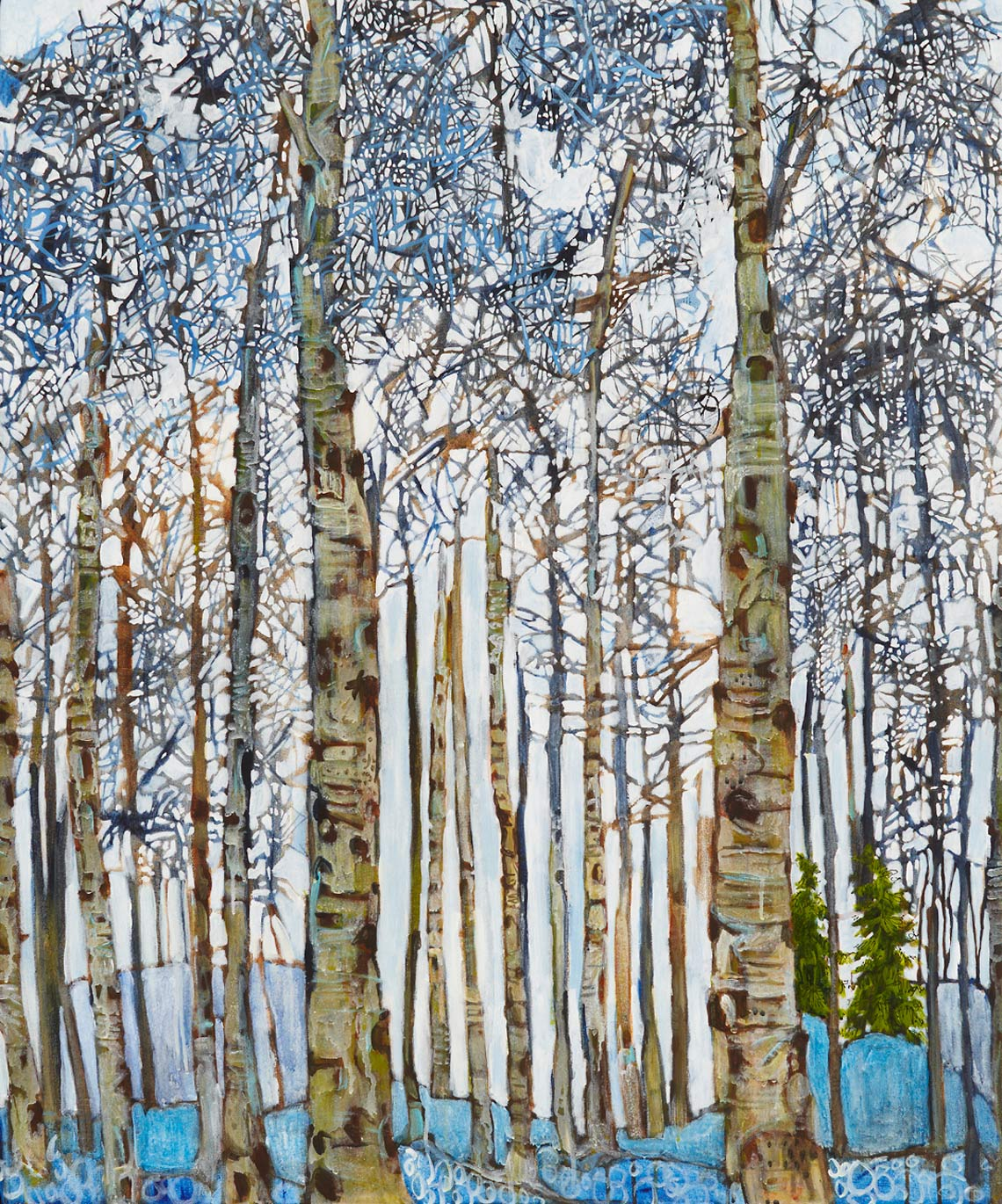 Twister Cane Aspens Lance Whitner Colorado Artist Mountain Painter Color Funky Contemporary Landscapes Paintings Steamboat Springs Pine Moon Fine Art