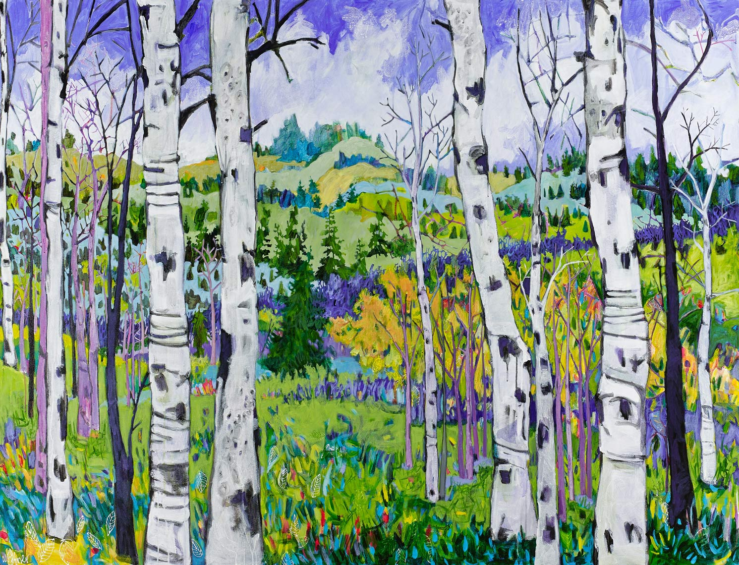 Lance Whitner Colorado Artist Mountain Painter Color Funky Contemporary Landscapes Paintings Steamboat Springs Pine Moon Fine Art south side of dad