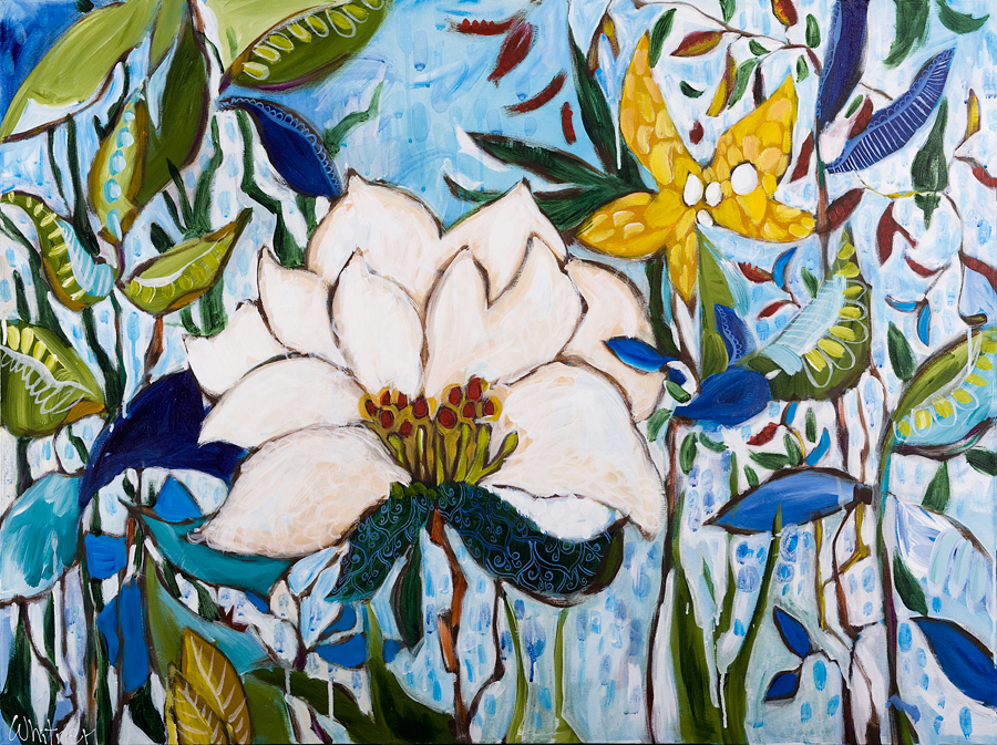 white lotus Lance Whitner Colorado Artist Mountain Painter Color Funky Contemporary Landscapes Paintings Steamboat Springs Pine Moon Fine Art