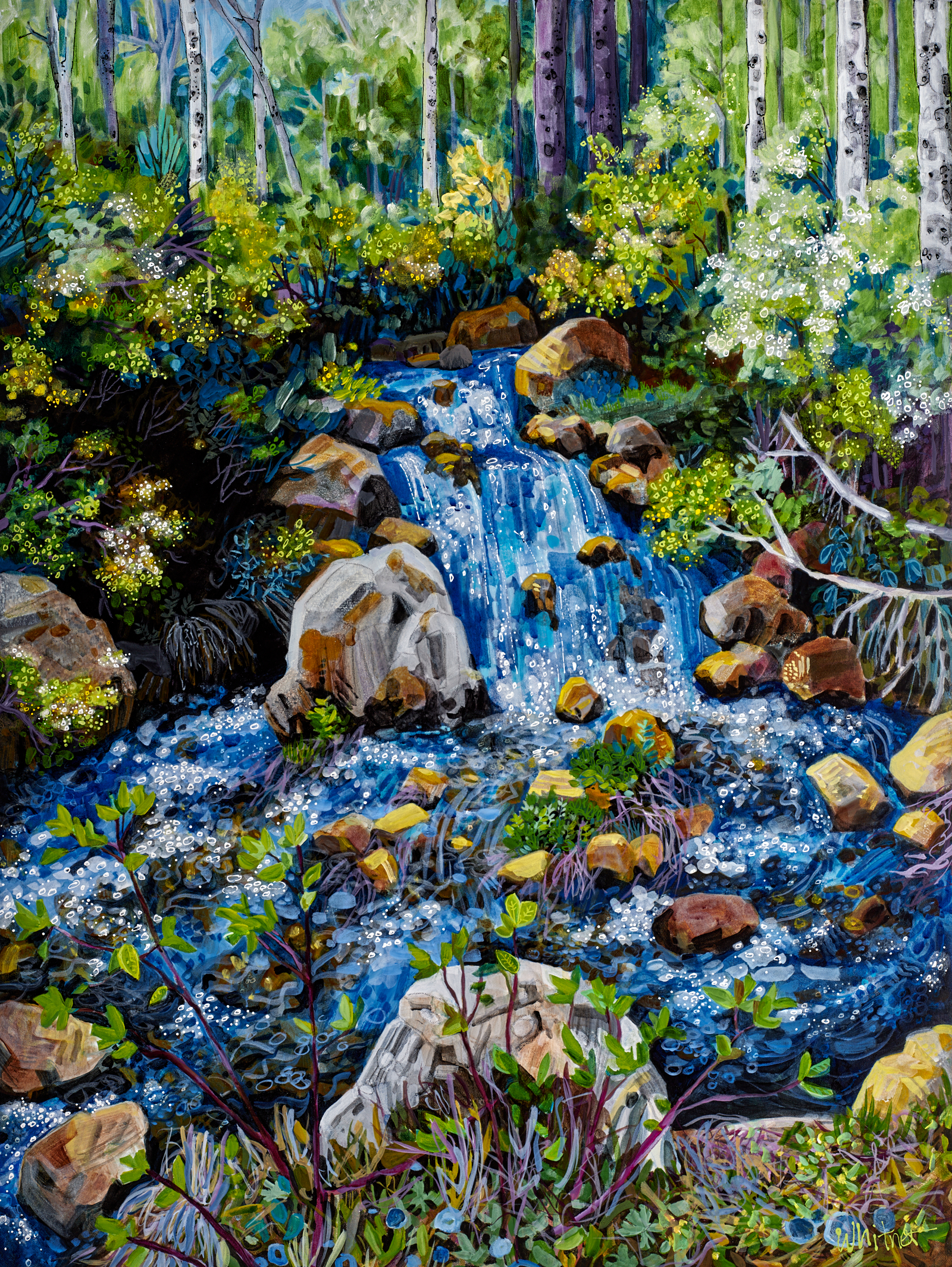 Lancescape painting titled Spring Creek by Lance Whitner in Steamboat Springs Colorado