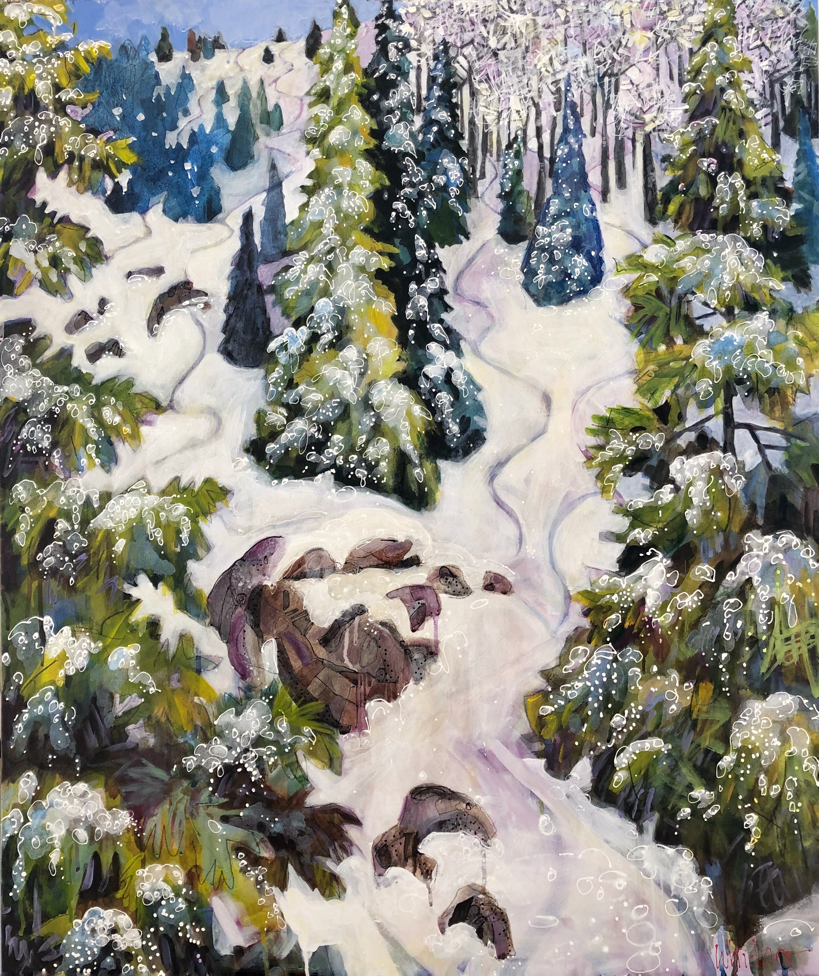 Lance Whitner winter aspen painting Powder Stash Steamboat Springs Colorado