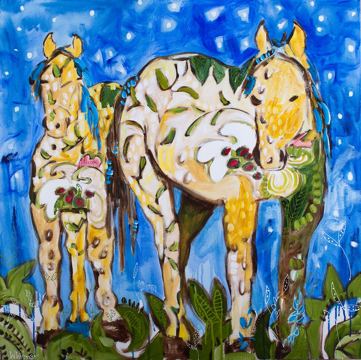 Two Horses Horse paintings Lance Whitner Steamboat Springs Rocky Mountain Contemporary artist Pine Moon Fine Art Gallery