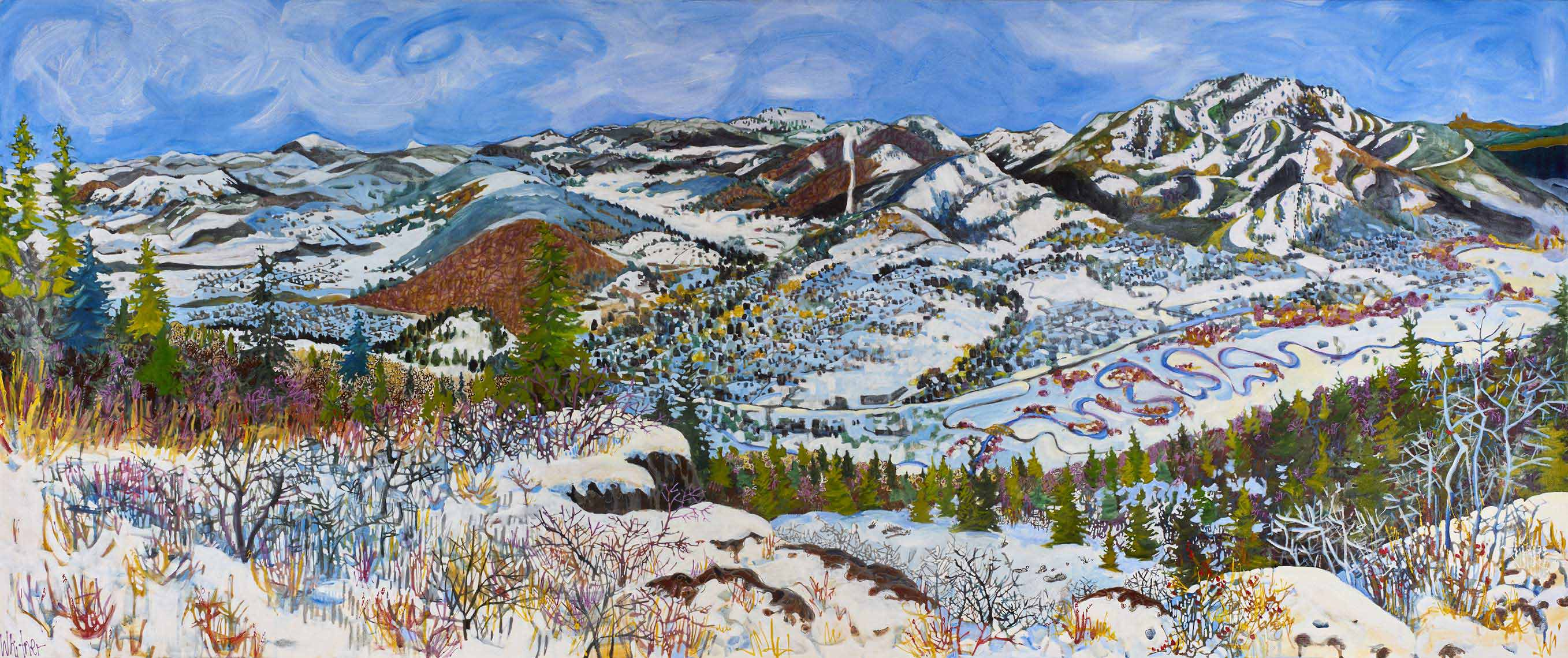 View from the Quarry Lance Whitner Colorado Artist Mountain Painter Color Funky Contemporary Landscapes Paintings Steamboat Springs Pine Moon Fine Art