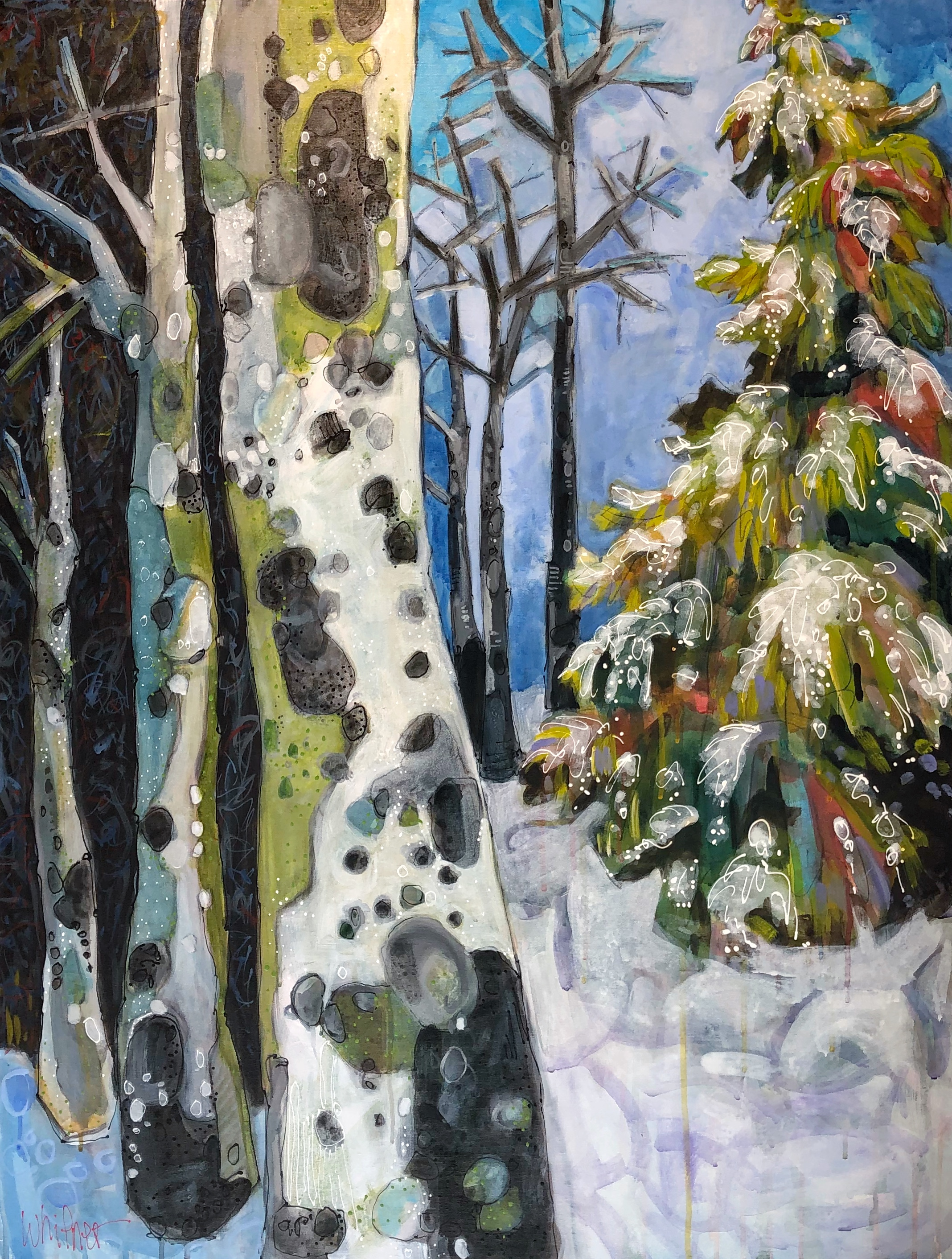 Lance Whitner painting Winter Forest Adventurous No.1 Steamboat Springs Colorado