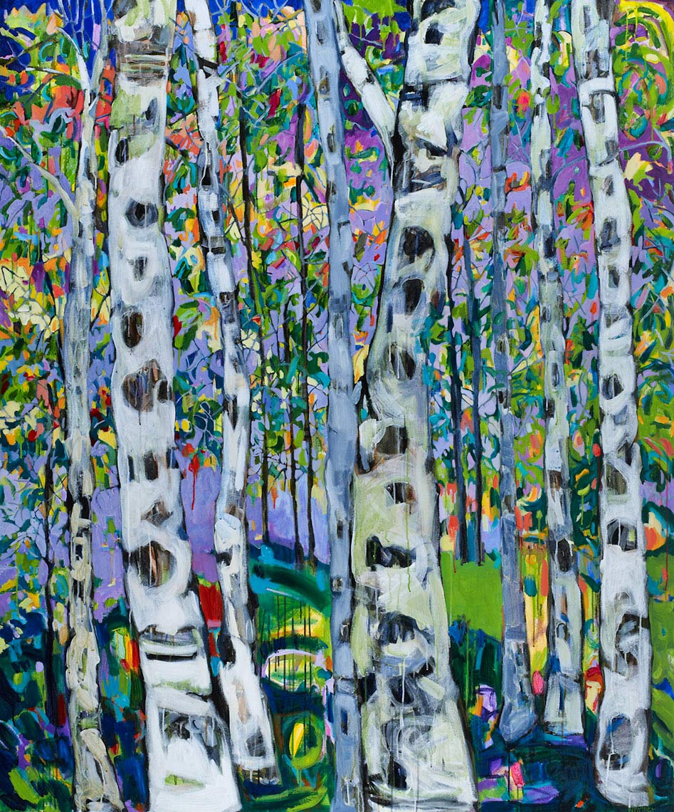 Aspen Cathedral Lance Whitner Steamboat Springs Artist color filled funky contemporary mountain landscapes floral paintings